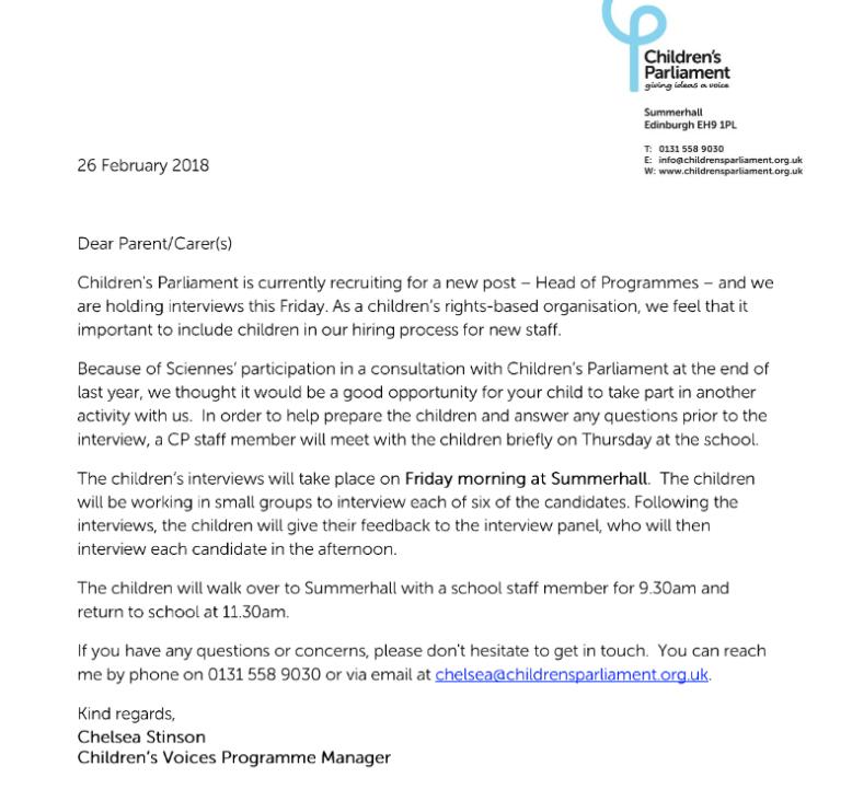 Invitation from Children's Parliament