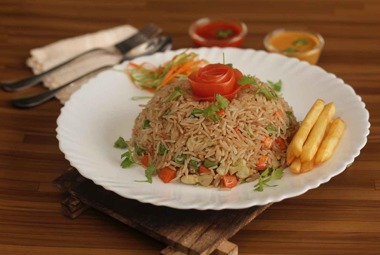 rice on white ceramic plate