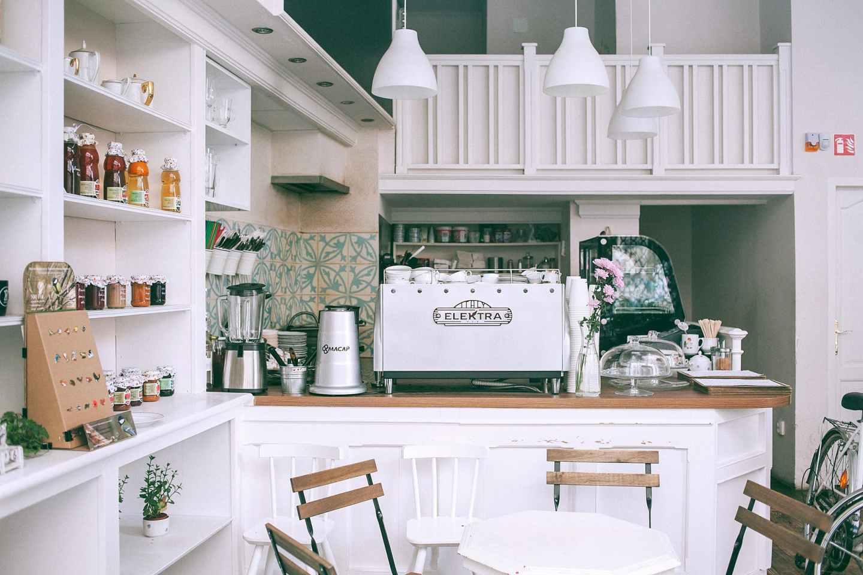interior of cozy light cafe counter