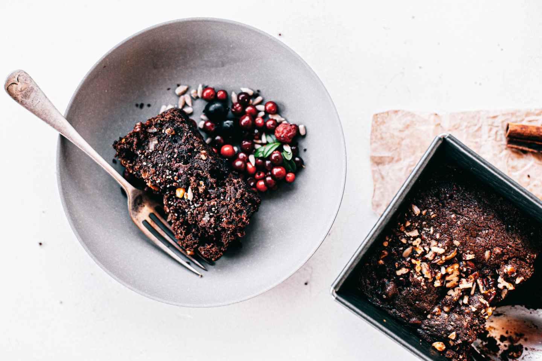 chocolate cake on gray ceramic plate