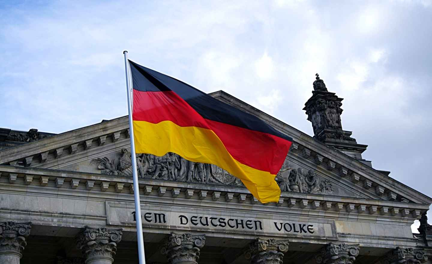 germany flag in front of building