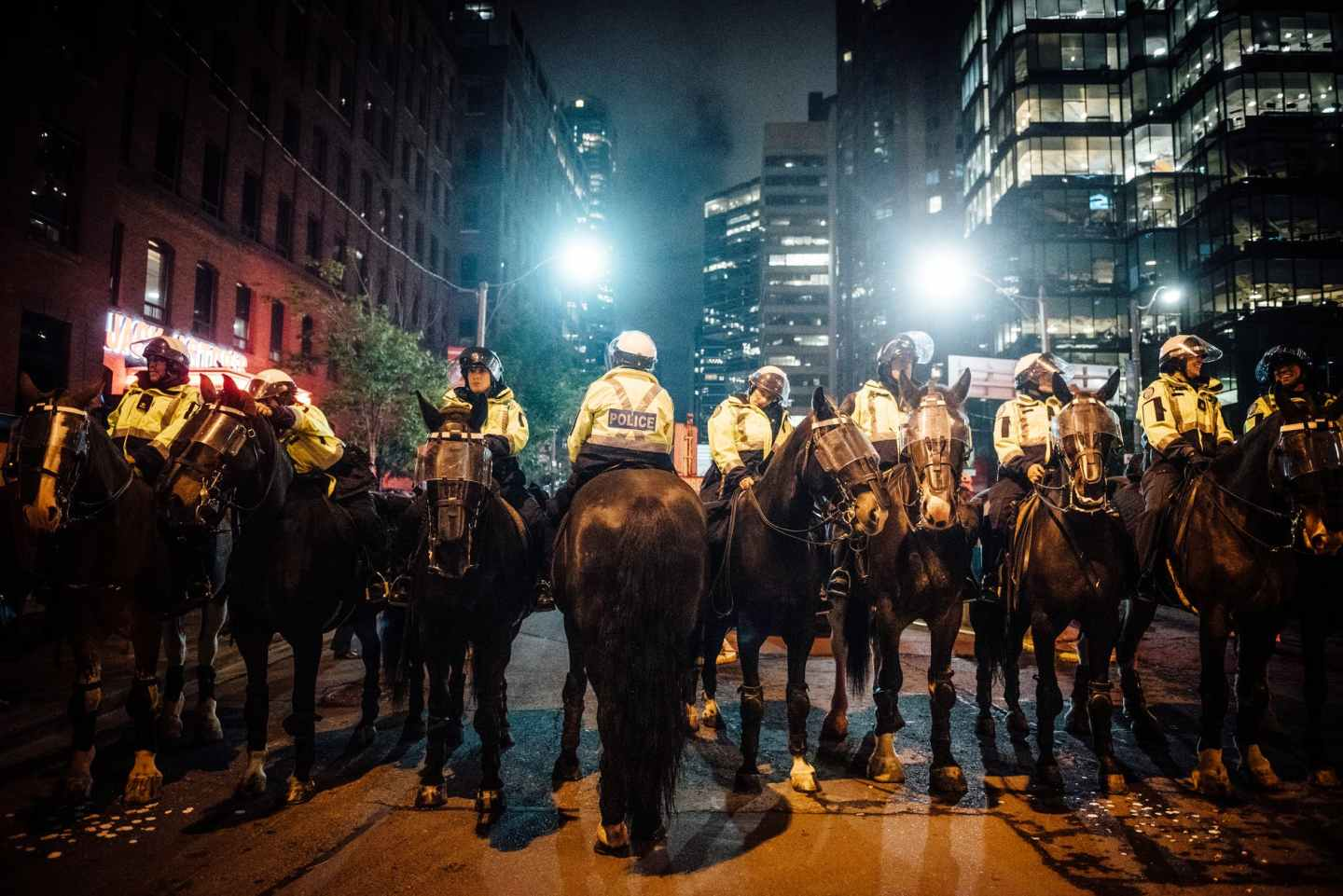 group of policemen on horse