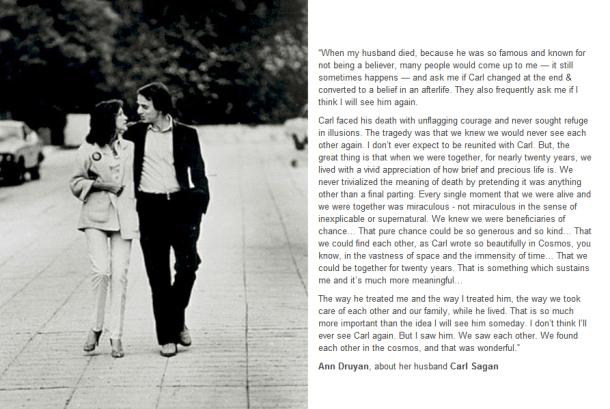carls sagan ann druyan death romantic quote