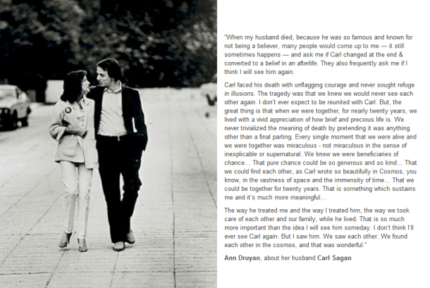 carls sagan ann druyan death romantic quote