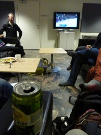 Friday gathering is a welcome end to a busy day. Beer and olympics!