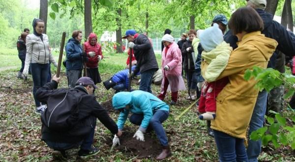 Посадка деревьев в парке лесоводов Башкирии