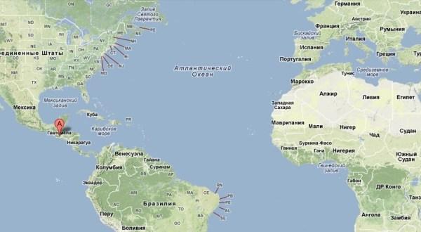 Гватемала на карте Мира