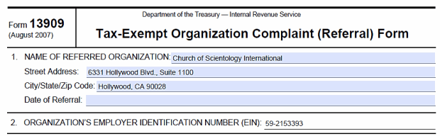 How to Simply and Effectively Report the Church of Scientology to – Irs Complaint Form
