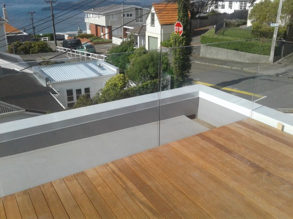 timber deck on kerbs on front roof over garage