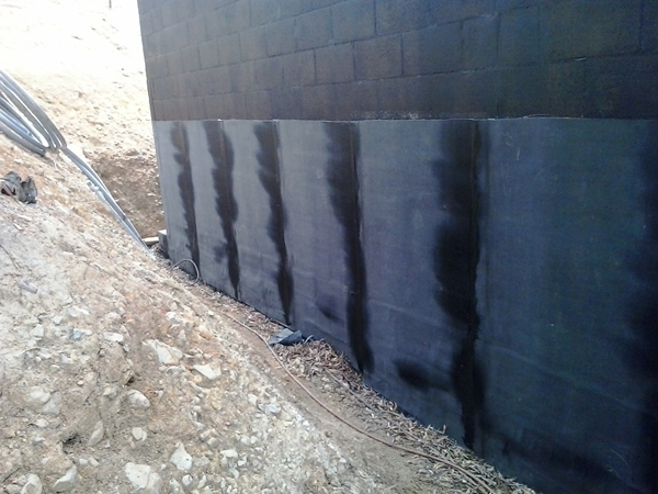 first lift is torched on south wall, overlaps self adhesive strip
