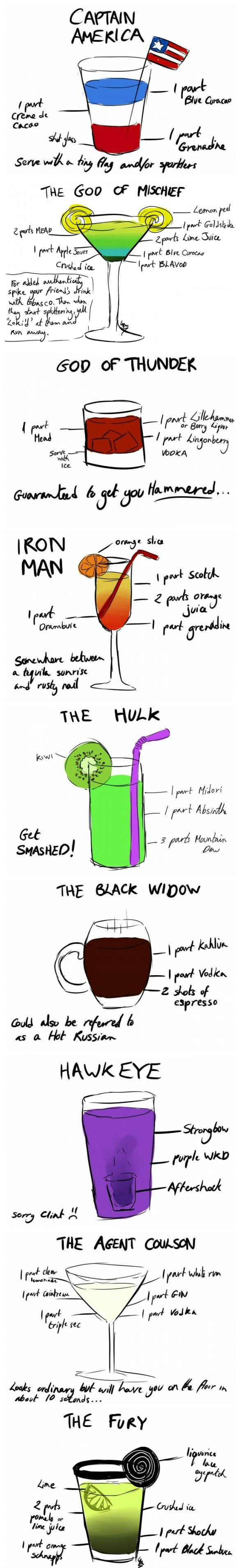 Avengers as Cocktails