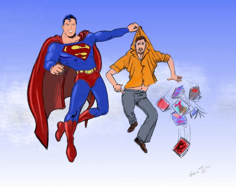 Superman Comics Thief Collared (illustration by Gene Turnbow)