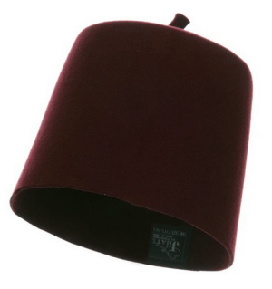 wool     Made with felt wool material.     One size fits most up to 7 3/8.     Crown measures 6 inches deep.     Thick, soft, and light material.     Hand wash only.