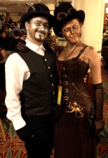 concert attendees in makeup and costume