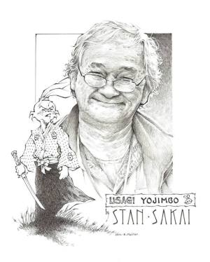 """A portrait of Stan Sakai illustrator Eric Muller donated for Comic Art Professional Society's upcoming auction for Stan & Sharon Sakai. Measures 8"""" x 10"""" created in pen and ink."""