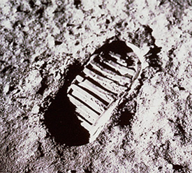 One of the first human footprints on the moon.