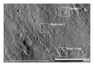 Components of Beagle 2 Flight System on Mars (Image Credit: NASA/JPL-Caltech/Univ. of Arizona/University of Leicester)