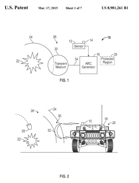 This illustration from Boeing's patent suggests that they think the force field generator could be mounted on something as small as a H umvee.