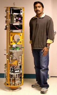 The CMU Ballbot, the first successful ballbot, built by Prof. Ralph Hollis (not in picture) at Carnegie Mellon University, USA in 2005.