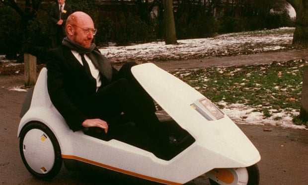 clive sinclair in his c5 electric trike