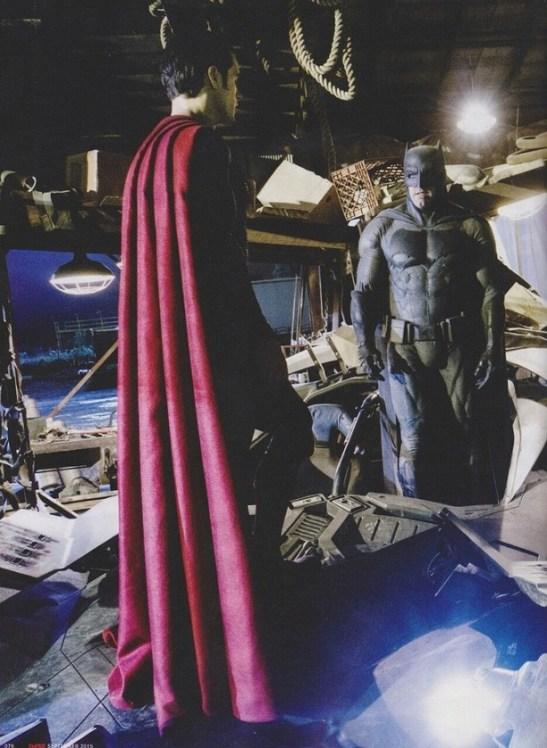 Henry Cavill (Super) e Ben Affleck (Bat) no set