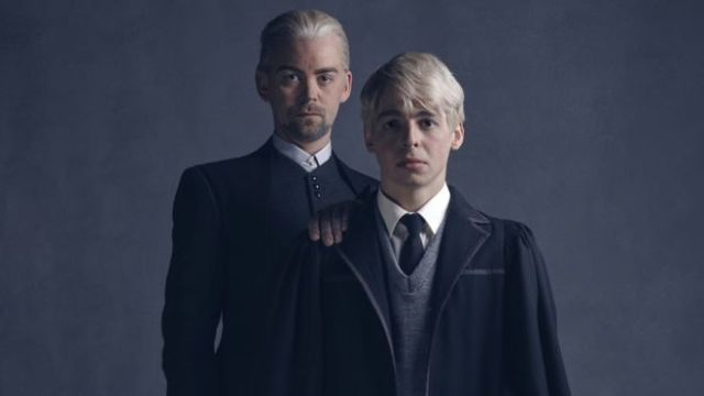 In the final cast photos, we see Harry's school nemesis Draco Malfoy. He now has a son, Scorpius, starting his first year of Hogwarts along with Albus and Rose. Credit: bbc.com