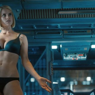 Alice Eve wearing bra and panties (lingerie) in Star Trek Into Darkness