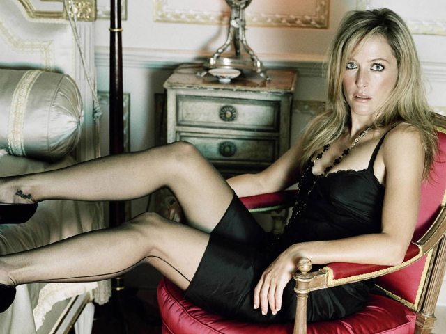 Gillian Anderson sexy lingerie stockings