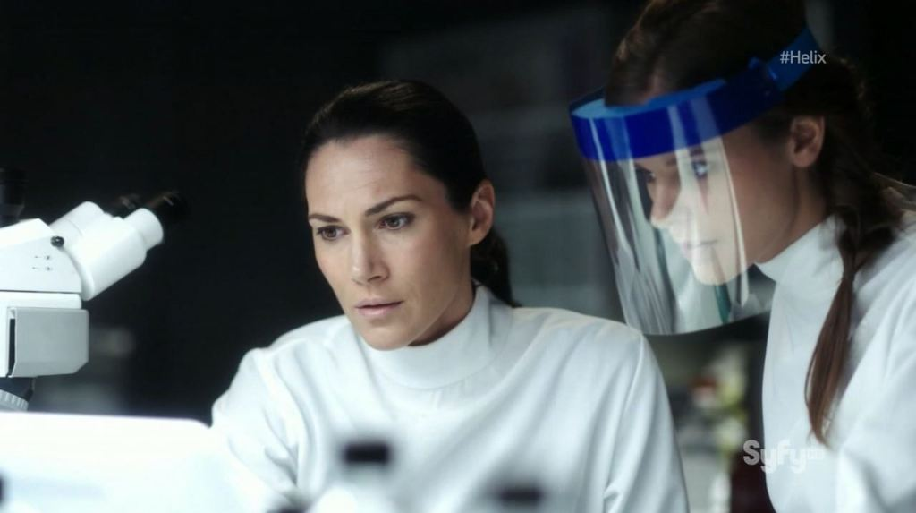 Helix - Pilot - Kyra Zagorsky as Dr. Julia Walker and Jordan Hayes as Dr. Sarah Jordan
