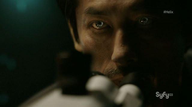 Helix - Vector - Hiroyuki Sanada as Dr. Hiroshi Hatake with glowing eyes