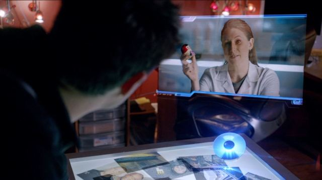 Almost Human - Perception - Vicky with Matryoshka doll listening device