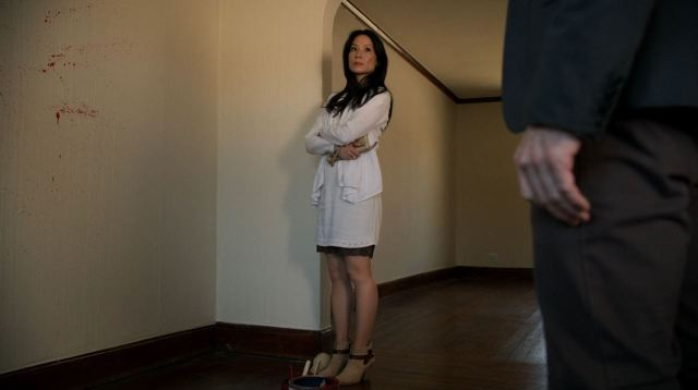 Elementary Season 2 The Grand Experiment Review - Watson (Lucy Lui) examines blood splatter