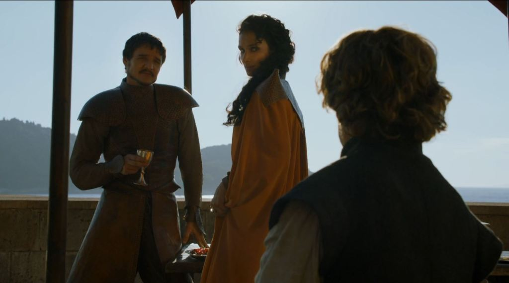 Game of Thrones 'The Mountain and The Viper' Review http://scifiempire.net Game Of Thrones - Oberyn (Pedro Pascal) and his paramour before the duel
