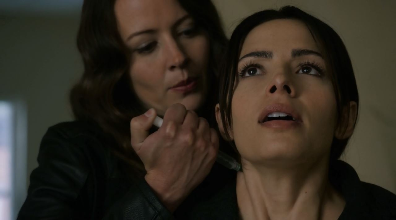 Root sedates Shaw (Sarah Shahi). Person of Interest S4Ep9 The Devil You Know Review