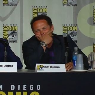 Michael Emerson, Kevin Chapman and Amy Acker at Comic Con 2015. Person of Interest Season 5 Preview
