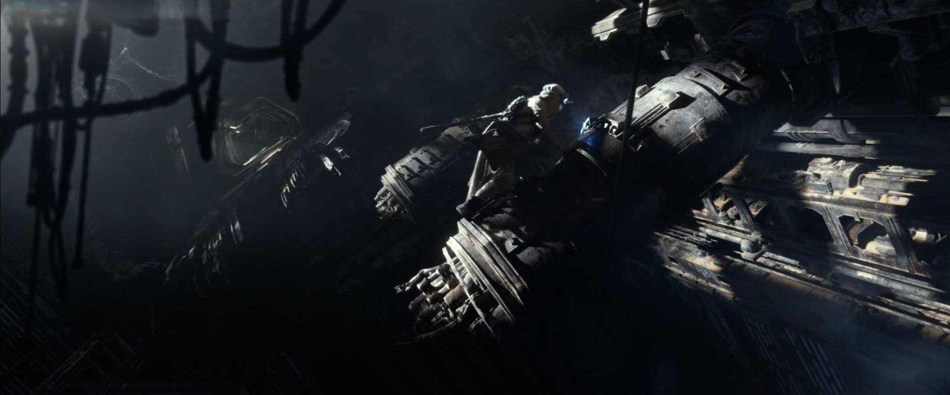 Rey scavenging on Jakku