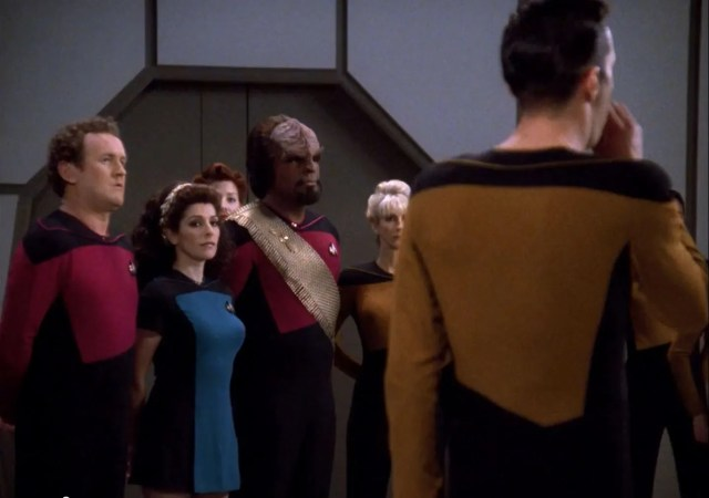 Star Trek The Next Generation A gentle Encounter Before Farpoint Marina-Sirtis-in-skirt-skant-uniform-All-Good-Things