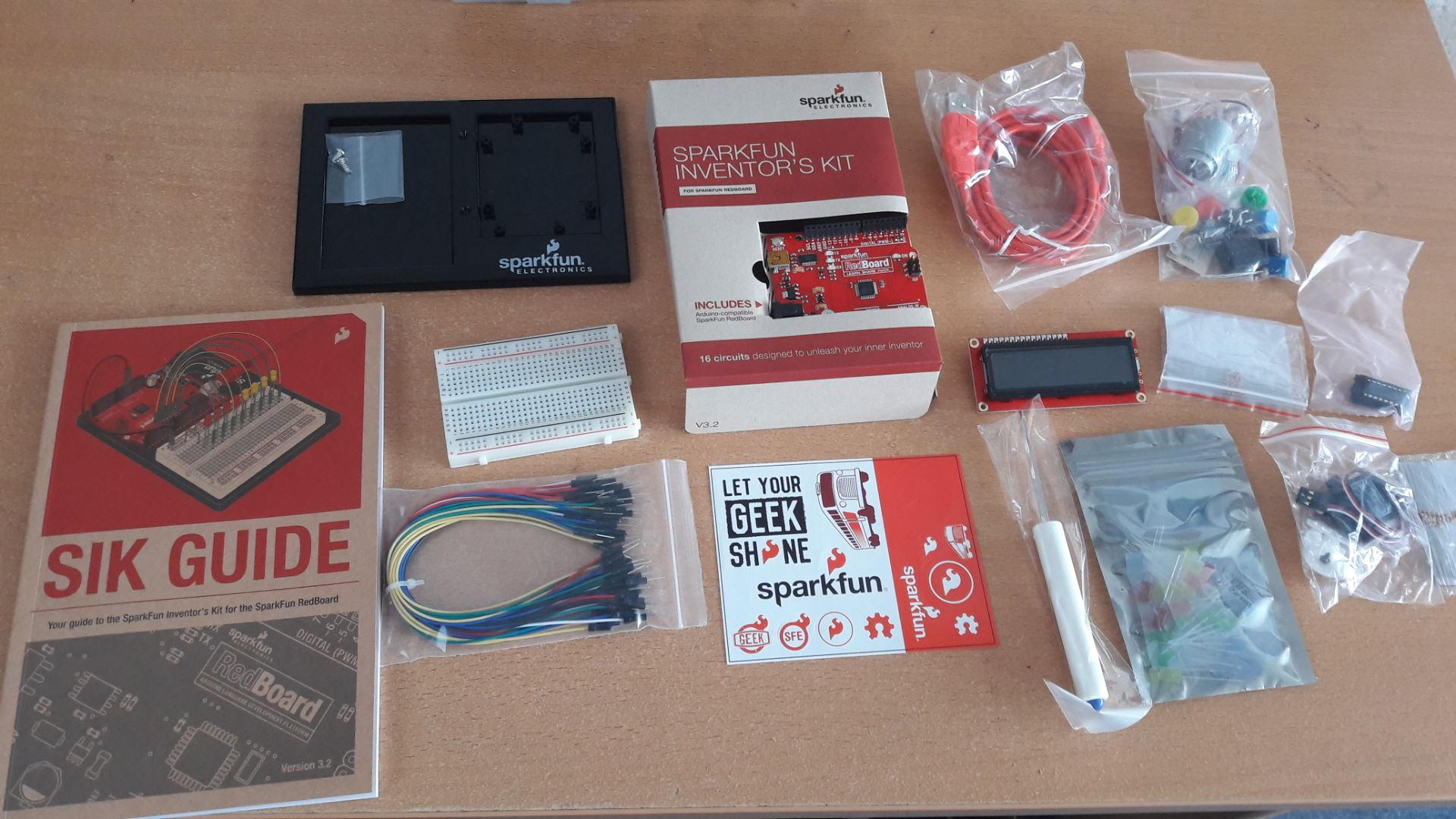 SparkFun Inventors Kit all components