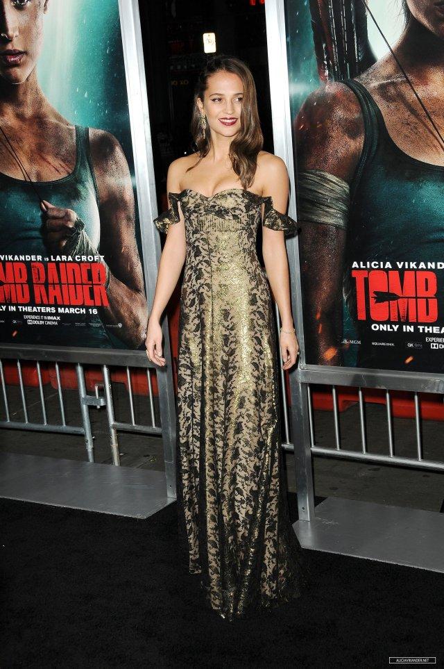 Alicia Vikander at Tomb Raider premiere in dress