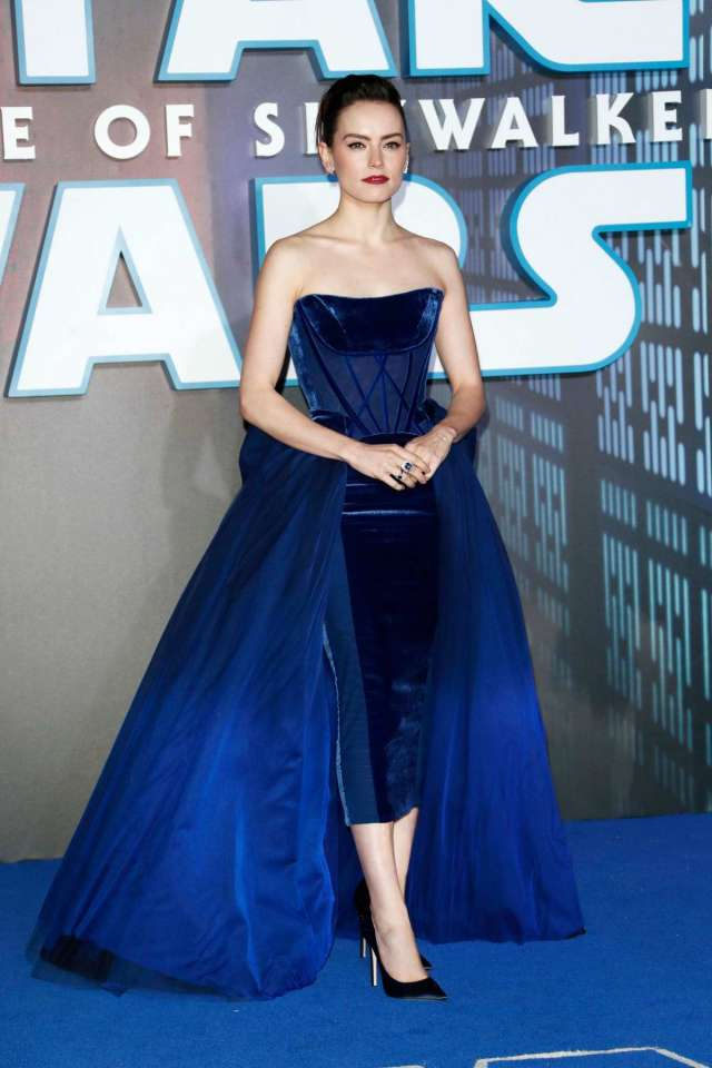 Daisy Ridley in blue gown at The Rise of Skywalker London premiere