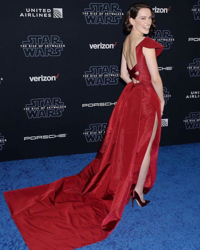Daisy Ridley in red gown at The Rise of Skywalker premiere