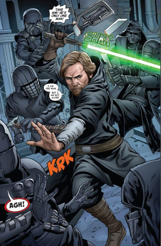 Star Wars The Rise of Kylo Ren Issue 2 Luke fighting the Knights of Ren