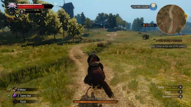 The Witcher 3 on Nintendo Switch horseback