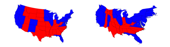A side by side comparison of a standard and cartographic projection.