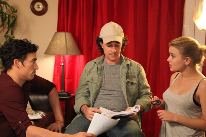 Blake (Andrew Keegan) Mike (Thomas Ian Nicholas) Carrie (Jordan Hinson) read the script