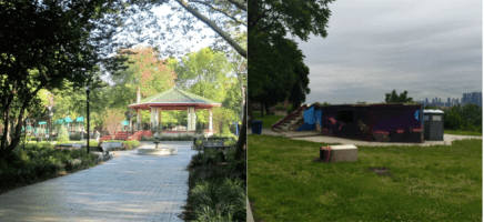 The lush green area surrounding a park in an affluent neighborhood of Jersey City, NJ (left) and the sparse landscape surrounding a broken park gazebo in a less affluent neighborhood of Jersey City (right). Ecological inequalities like this have negative implications for human health and biodiversity conservation.