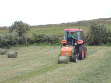 The new haylage baler in action