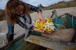 Zoe styling narcissi on the beach