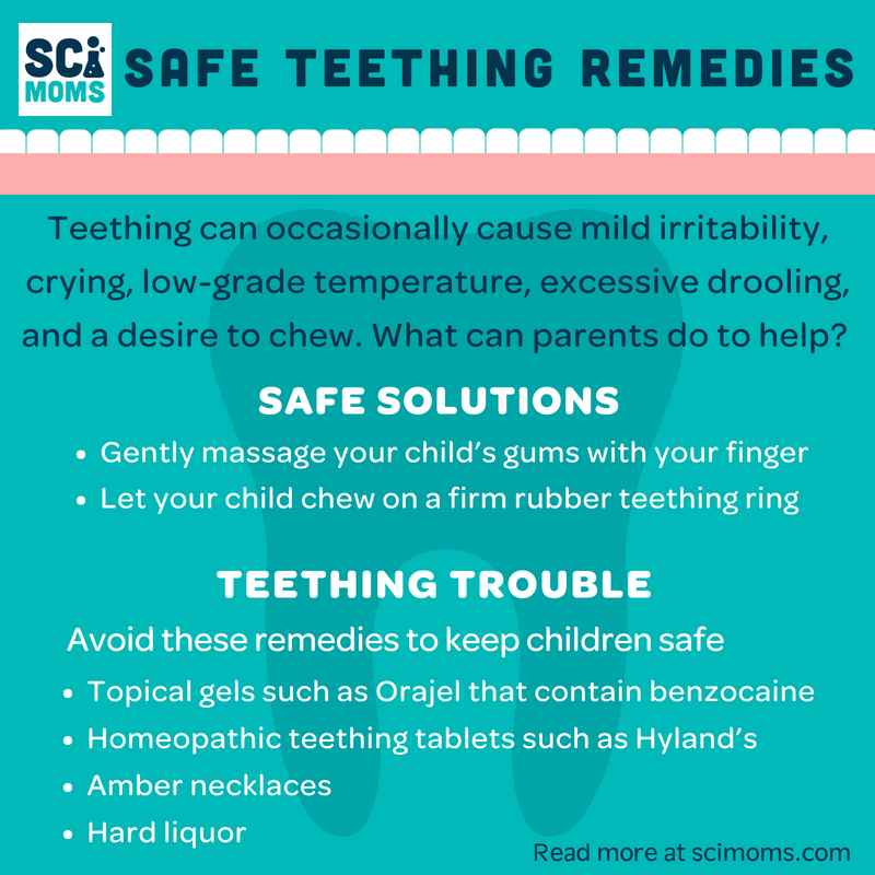 Infographic of Safe Teething Remedies. Teething can occasionally cause mild irritability, crying, low-grade temperature, excessive drooling, and a desire to chew. Safe solutions and Teething Trouble.