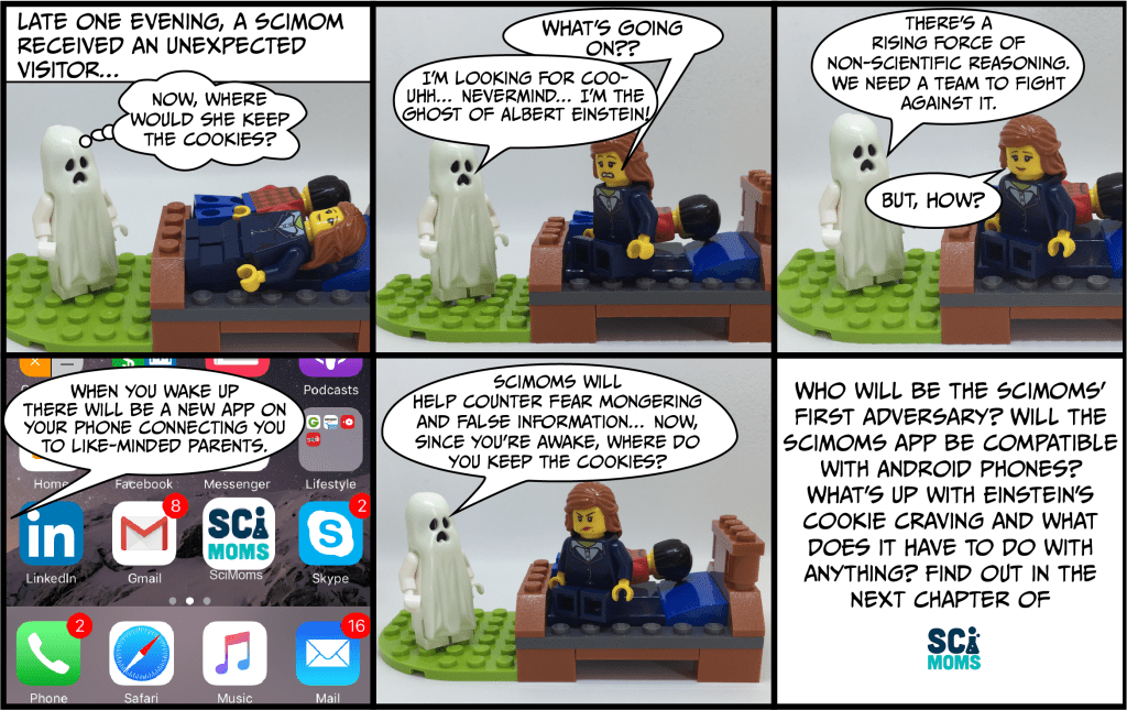 SciMoms comic introducing the Ghost of Einstein.